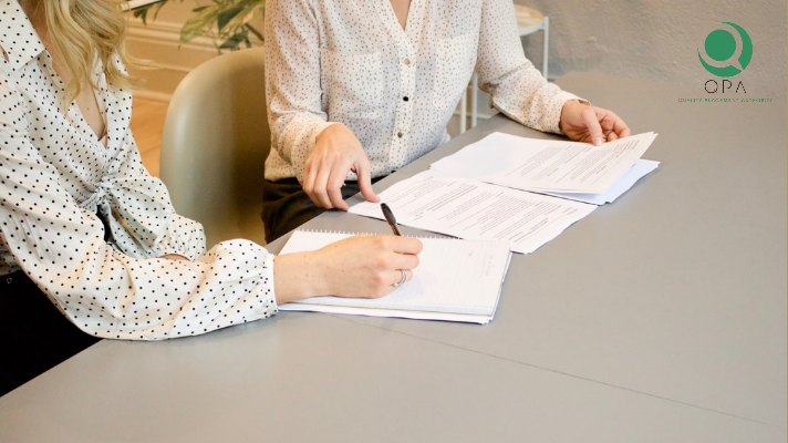 Women going through interview process.